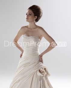 Glorious Strapless A-line Floor-length Pick-up Beaded Color Wedding Dresses