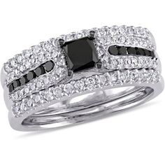 1-1/6 Carat T.W. Black and White Diamond Princess-Cut Sterling Silver with Black Rhodium Three-Piece Bridal Set, Women's, Size: 5