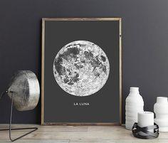 Poster de luna llena - archivo imprimible. Cartel de la luna de la Luna. Imprimir Luna Lunar. Vintage impresión de Luna. Arte de la sistema solar. Dormitorio celeste sala arte.