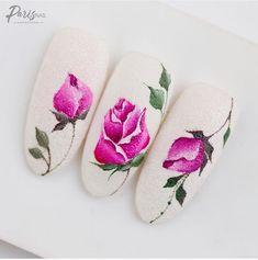 Nail Art Fleur, Rose Nail Art, Rose Nails, Flower Nails, Nail Art Diy, New Nail Art Design, Best Nail Art Designs, Nail Designs Spring, Nail Art Wheel