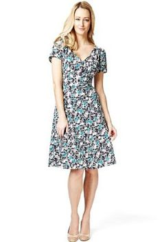 Ditsy floral print tea dress M £39.50