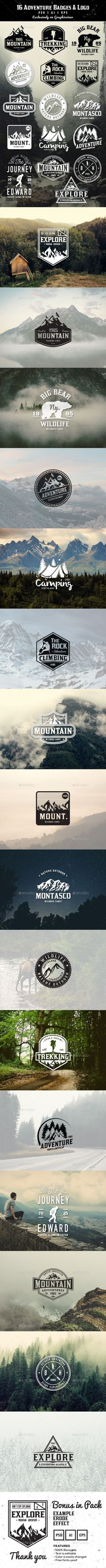 16 Adventure Badges & Logo - Badges & Stickers Web Elements