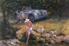 """Alan Fearnley (British, born 1942) """"Summer of 50""""  ~  This scene depicts the famous Jaguar XK120 which was introduced in 1948 and was the first mass produced car to have twin overhead camshafts."""