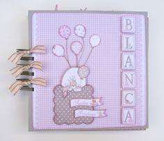Portada miniálbum scrapbooking para recién nacida como detalle, globos con cuerdas naturales