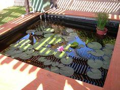 Above ground cinder block pond