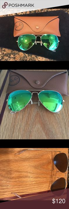 Authentic Ray-Ban aviators gold sunglasses Authentic matte gold frames with green mirrored lens with  case EUC... Ray-Ban Accessories Sunglasses