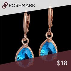 🎀 3 For $30 New Gold & Blue Earrings New gold filled earring with blue cubic zirconia stone 4 Bidden Boutique Jewelry Earrings