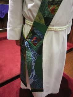Detail of deacon stole designed from personal  memory, strong community based theology and appropriate color!!