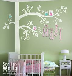 Huge Swirly Tree with Owls Wall Decal Corner Tree by smileywalls, $105.00