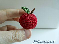 OOAK miniature crochet amigurumi snowman Red Apple in Lisle