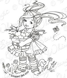 Apple Blossom Little Cottage Cuties Collection by Elisabeth bell for Whimsy Stamps Whimsy Stamps, Digi Stamps, Coloring Book Pages, Coloring Pages For Kids, Kids Coloring, Bell Design, Wild Orchid, Christmas Embroidery, Copics