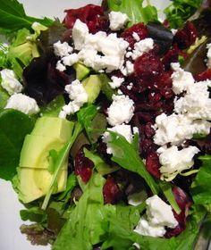 Cranberry, feta and avocado salad