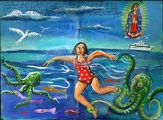 Ex-voto retablo that says thank you Jesus's mom for saving me from the evil octopus