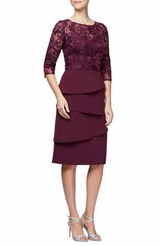 Save money on Alex Evenings Embroidered Sequin Sheath Dress (Regular & Petite) Types Of Dresses, 15 Dresses, Elegant Dresses, Dresses Online, Bride Dresses, Bridesmaid Dresses, Petite Dresses, Plus Size Dresses, Dresser
