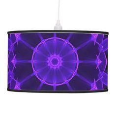Purple Wheel of Fire Mandala, Abstract Pattern Hanging Lamp