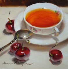 """Sunday Tea"" - Original Fine Art for Sale - © Elena Katsyura"