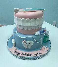 Cute Little Dental Hygienist Birthday Cake Dentalhygienistcake Birthdaycake Teethcake Pinkandbluecake Cutthecake