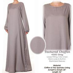 Light Grey Chiffon Stripes Long Sleeves Abaya Muslim by MissMode21, $34.00