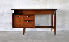 Mid Century Danish Modern Mainline Walnut Vintage Desk by Hooker Furniture 1960s | eBay