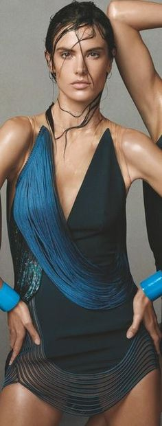 Alessandra Ambrosio blue fringe dress- Dress by – Stella McCartney-
