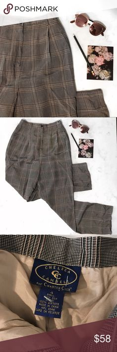 """Silk Houndstooth Pleated Pants Perfectly pleated and high-waisted houndstooth trouser pants from the 90s. Wear with flats and a long car coat for that effortless, modern look. Material: 100% silk and fully lined on inside // US size 4 - fits like a 2-4 // Measures: 13"""" in waist; 12"""" rise; and 29-30"""" inseam. In excellent pre-owned condition ☁️✨ Charter Club Pants Trousers"""