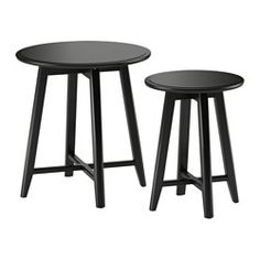 IKEA - KRAGSTA, Nesting tables, set of 2, black, , You can easily create a coordinated look by completing KRAGSTA nesting tables with the larger coffee table in the same series.