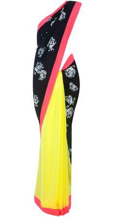Yellow and black rose print sari by MASABA. Shop at http://www.perniaspopupshop.com/whats-new/masaba-72