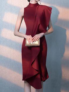 56a60c541f7 Online Shopping Stylewe Prom Dresses Summer Dresses Evening Sheath Stand  Collar Ruffled Sleeveless Elegant Dresses