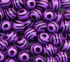 Purple zebra striped acrylic beads
