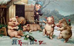 Happy New Year postcard pigs