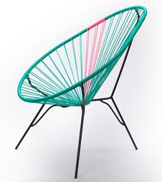 Acapulco Chair, Turquoise with Pink rubber cord Funky Furniture, Furniture Design, Acapulco Chair, Interior Decorating, Interior Design, Garden Seating, Sofa Chair, Armchair, Patio Design