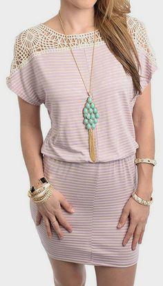 Cream & lilac crochet dress.