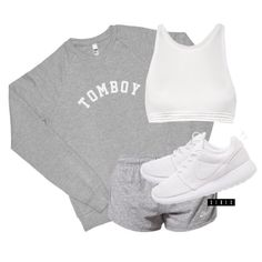 """Tomboy"" sweatshirt via teamxirix.com ($35), T by Alexander Wang bra top ($115), Nike shorts ($53) and roshes ($120) xx"