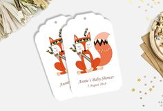 Fox Baby Shower tags  Guest favour shower tags by LongSundayStudio