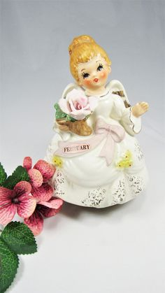 """ANGEL MUSIC Box LEFTON Vintage February Angel holding Pink Flower with February Sash. The Music Box play """"Happy Birthday"""" clearly ! by VintageQualityFinds on Etsy"""