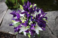 Lavender and Purple Bouquets - BB0326-Purple Iris Wedding Bouquet