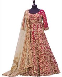 bridal lahenga: Beautiful Bridal Red Silk Embroidered Lahenga