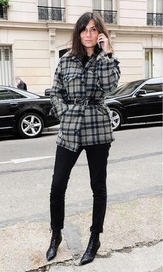 Emmanuelle Alt in a plaid belted jacket, skinny pants and booties.