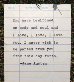 Jane Austen quote hand typed on library due date by PaperElation