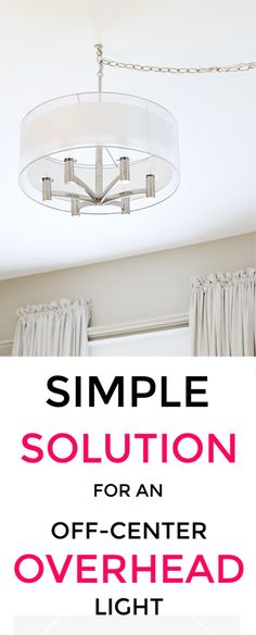 Simple Solution for an Off-Center Overhead Light – Thistlewood Farm - Boast. Decorating Tips, Decorating Your Home, Diy Home Decor, Home Improvement Projects, Home Projects, Burlap Projects, Burlap Crafts, Diy Crafts, Best Neutral Paint Colors