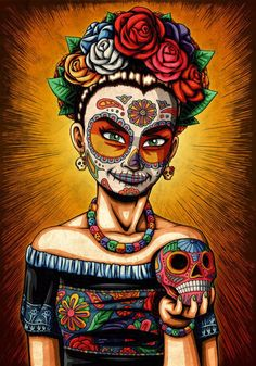 This Day of the Dead girl bears a resemblance to Frida Kahlo. Available on canvas or high quality paper. Created by award-winning artist Nicholas Ivins. Sugar Skull Girl, Sugar Skulls, Catrina Tattoo, Frida Art, Festival Girls, Day Of The Dead Art, Candy Skulls, Chicano Art, Mexican Art