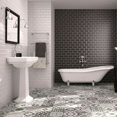 Blackfriars Gloss Black Tiles Metro 200x100 Tiles 200x100x7mm Tiles