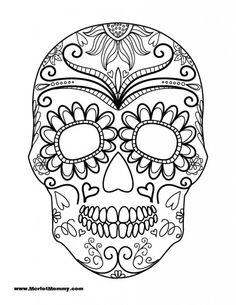 sugar skull coloring page | coloring pages | pinterest | sugar ... - Simple Sugar Skull Coloring Pages