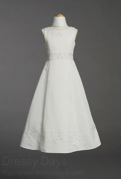 Beaded Satin First Communion Dress with Shawl