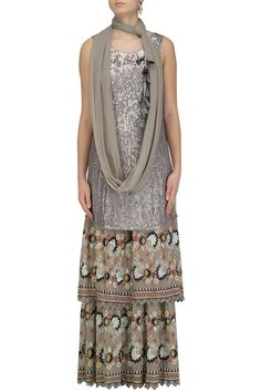 Grey Sequins Embroidered Kurta and Sharara Pants Set By Esha Sethi Thirani  #ethnic #traditional #pernia #perniaspopupshop #ethnicwear #indianwear #shopnow #eshasethithirani