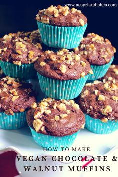 Learn How to make Vegan Chocolate & Walnut Muffins with Assyrian Dishes! Vegan Food, Vegan Recipes, Learn To Cook, Lent, Vegan Chocolate, Food Videos, Muffins, Dishes, Cooking