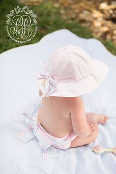 Peggy's Pull On Bloomer - Plantation Pink with Seashore Stripe   The Beaufort Bonnet Company