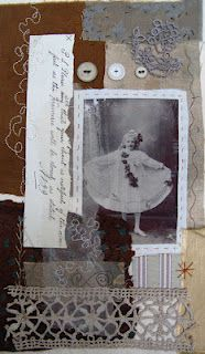 Mandy Patullo's gorgeous work, combining image transfer and vintage textiles