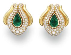 A PAIR OF EMERALD AND DIAMOND EAR CLIPS, BY RENE BOIVIN