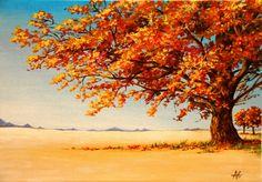 Arbre en automne au coeur d'une plaine : Peintures par anagruz
